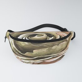 Coral and Grey Greige Artistic Romantic Rose Fanny Pack