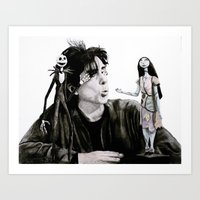 tim burton Art Prints featuring Tim Burton by MrSmudgins