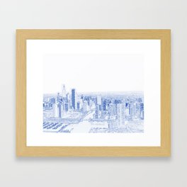Blueprint drawing of  Aerial view of Chicago, Illinois. The black skyscraper is Willis Tower,  a Chi Framed Art Print