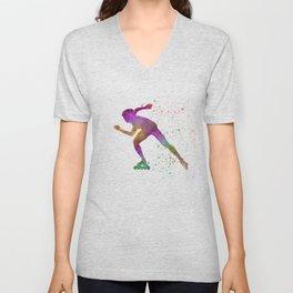 Roller skating in watercolor 04 Unisex V-Neck