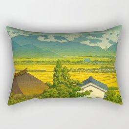 Kawase Hasui Vintage Japanese Woodblock Print Beautiful Mountain Valley Farmland Yellow Hues Rectangular Pillow