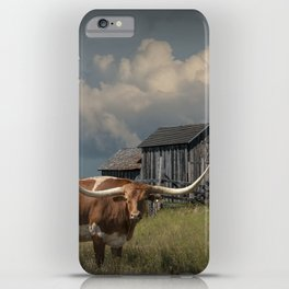 Longhorn Steer in a Prairie pasture by 1880 Town with Windmill and Old Gray Wooden Barn iPhone Case