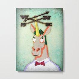 Weathervane Unicorn Metal Print