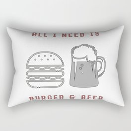 All I Need Is Burger & Beer - BBQ Barbecue Grill Rectangular Pillow