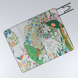 Painterly Floral Jungle on Pink and White Picnic Blanket