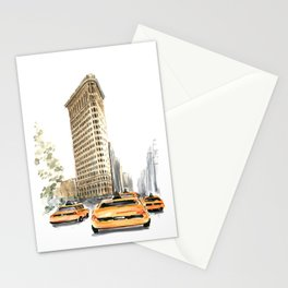 Architecture sketch of the Flatiron building in New york Stationery Cards