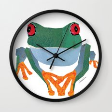 Tree Frog, Collage Wall Clock