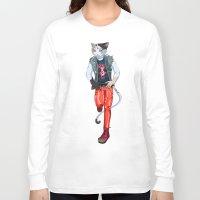misfits Long Sleeve T-shirts featuring Misfits punk cat  by Kami-katamari