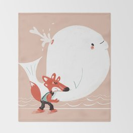 Fox and Whale Throw Blanket