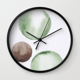 11 |181104 Australian Leaf Green & Brown Earth Orbs | Watercolour Circle Abstract Geometrical Wall Clock