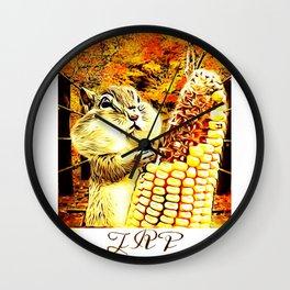 A Squirrel and a Corn Cob 01 Wall Clock