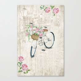 Vintage White Bicycle With City Background Canvas Print