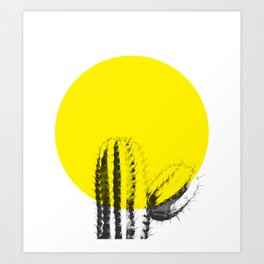Sunset Minimal Cactus Art Print