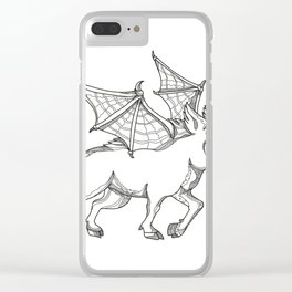 Winged Wild Boar Doodle Art Clear iPhone Case