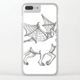 Winged Wild Boar Doodle Art Clear iPhone Case