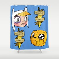 finn and jake Shower Curtains featuring Finn and Jake by Nate Galbraith