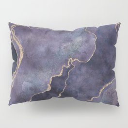 Purple Watercolor Marble Gemstone Glamour Pillow Sham