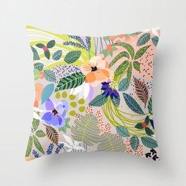 Wander, Floral Colorful Summer Modern Bohemian Illustration, Nature Blush Botanical Tropical Garden Throw Pillow