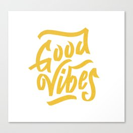 Good Vibes, white & gold lettering Canvas Print