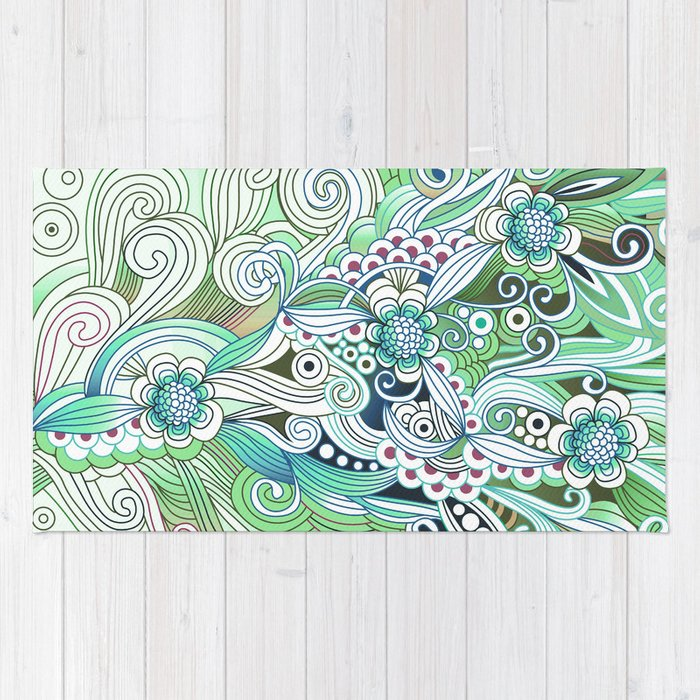 Zentangle Flower fire, green doodle Rug