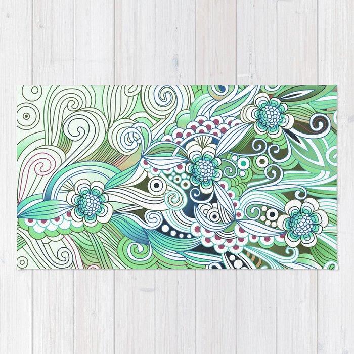 Zentangle Flower fire, green doodle Rug