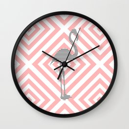 Flamingo - Abstract geometric pattern - pink and white. Wall Clock