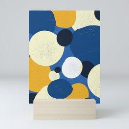 Scandi Style Textured Happy Pattern - blue & yellow Mini Art Print