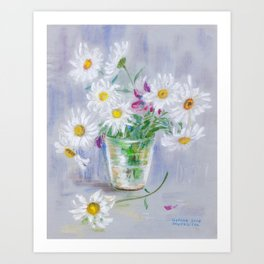 Camomile in a glass Art Print