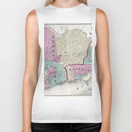 Vintage Map of Jersey City, Hoboken & Weehawken NJ Biker Tank