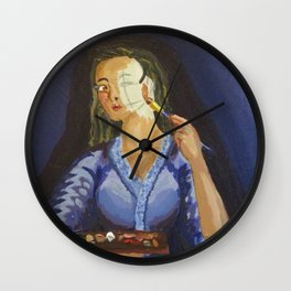 Putting on face. Wall Clock