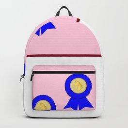 Three Horse Racing Award Blue Ribbons Backpack
