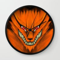 kakashi Wall Clocks featuring Kyubi Nine Tails by Inara
