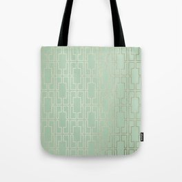 Simply Mid-Century in White Gold Sands and Pastel Cactus Green Tote Bag