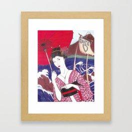 Geisha Bus Stop Framed Art Print