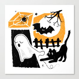 Beware of the Cat on Halloween Canvas Print