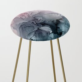 Blush and Payne's Grey Flowing Abstract Painting Counter Stool