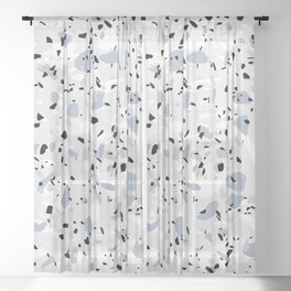 Shades of Grey Modern Terrazzo Pattern Sheer Curtain
