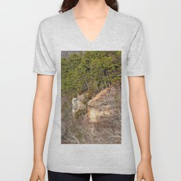 Climbing Up Sparrowhawk Mountain above the Illinois River, No. 3 of 8 Unisex V-Neck