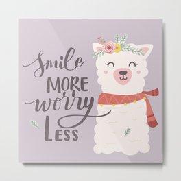Smile More Worry Less, Cute Baby Alpaca Advice Metal Print