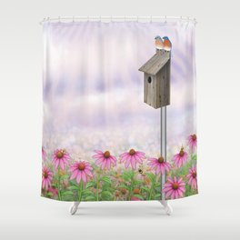 eastern bluebirds, echinacea, and bumble bees Shower Curtain