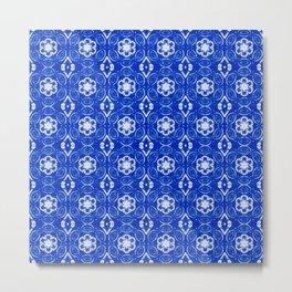 Sapphire Blue Floral Geometric Pattern Metal Print