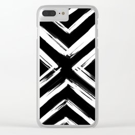 Minimalistic Black and White Paint Brush Triangle Diamond Pattern Clear iPhone Case