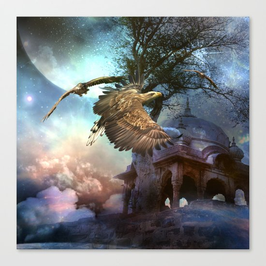 Awesome flying eagle Canvas Print
