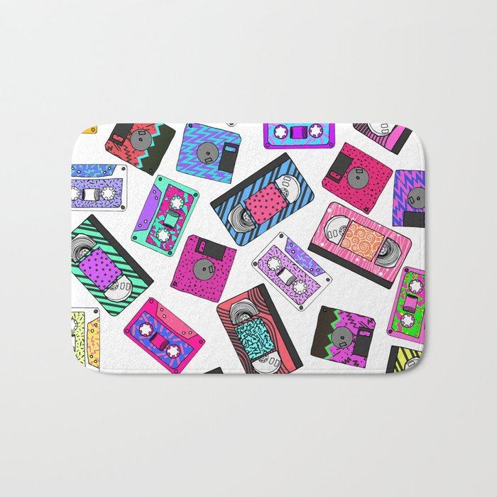 Retro 80's 90's Neon Patterned Cassette Tapes Bath Mat