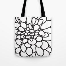 Black and White Modern Dahlia FLower Tote Bag