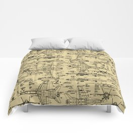 F-18 Blueprints // Tan Comforters