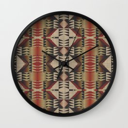 Native American Indian Tribal Mosaic Rustic Cabin Pattern Wall Clock