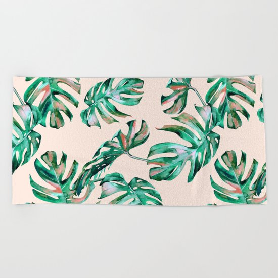 Tropical Palm Leaves Coral Greenery Beach Towel