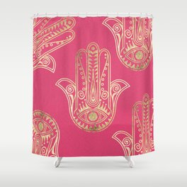 Neon pink faux gold inspirational Hamsa hand of Fatima Shower Curtain