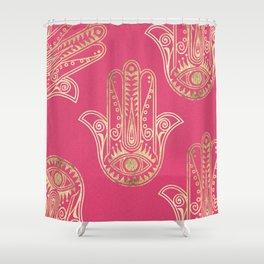 Neon Pink Faux Gold Inspirational Hamsa Hand Of Fatima Shower Curtain
